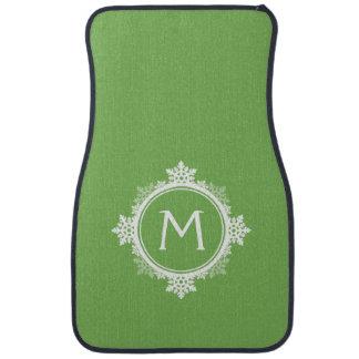 Snowflake Wreath Monogram in Lime Green White Floor Mat
