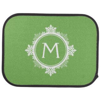 Snowflake Wreath Monogram in Lime Green & White Car Mat
