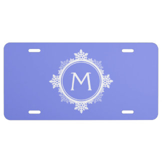 Snowflake Wreath Monogram in Purple Blue White License Plate