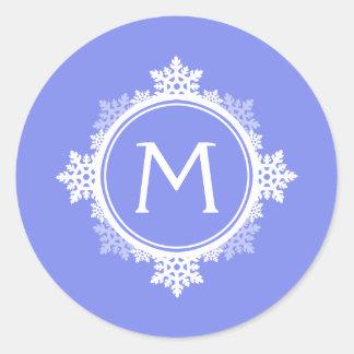 Snowflake Wreath Monogram in Purple Blue White Round Sticker