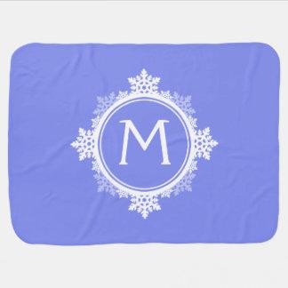 Snowflake Wreath Monogram in Purple Blue White Receiving Blankets