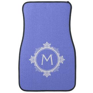 Snowflake Wreath Monogram in Purple Blue White Floor Mat