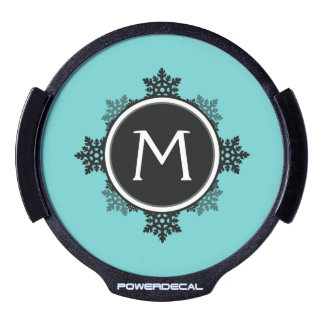 Snowflake Wreath Monogram in Teal, Black, White LED Window Decal