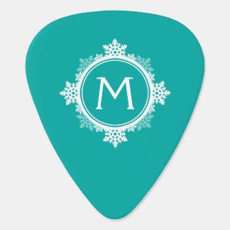 Snowflake Wreath Monogram in Teal Blue White Pick