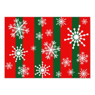 Snowflake Xmas Stripe Personalized Invitations