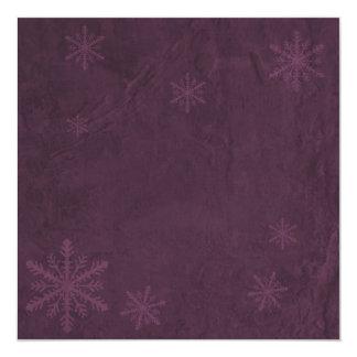 "Snowflakes 4 - Original Dark Pink 5.25"" Square Invitation Card"