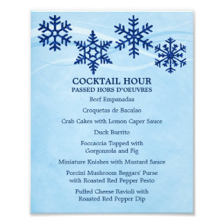 Snowflakes 8 x 10 Cocktail Table Menu for Framing Photo