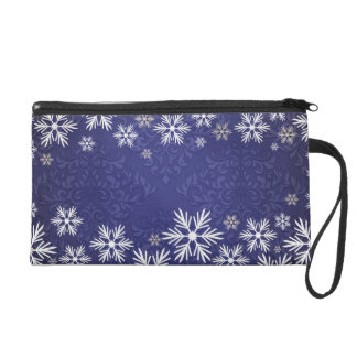 Snowflakes and Blue Damask Bridal Party Wristlet