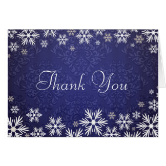 Snowflakes and Blue Damask Thank You Card