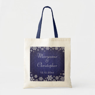 Snowflakes and Blue Damask Wedding Canvas Bags