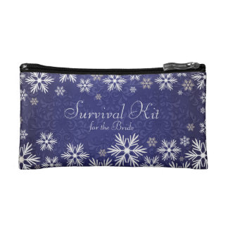 Snowflakes and Blue Damask Wedding Survival Kit Makeup Bag