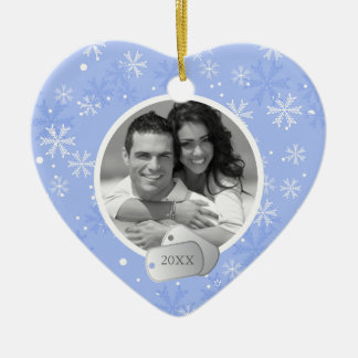Snowflakes and Dog Tags Ceramic Heart Decoration