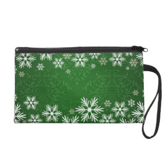 Snowflakes and Green Damask Bridal Party Wristlet