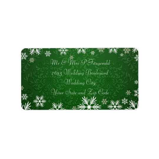 Snowflakes and Green Damask Wedding Address Label