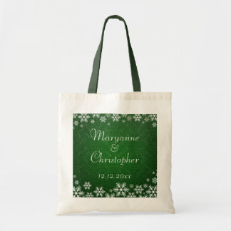 Snowflakes and Green Damask Wedding Canvas Bags