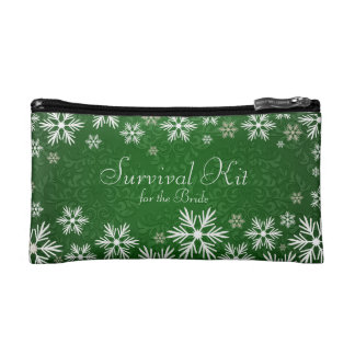 Snowflakes and Green Damask Wedding Survival Kit Cosmetic Bags