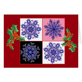 Snowflakes and holly card