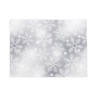 Snowflakes and lights doormat