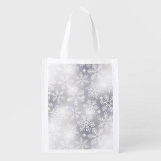 Snowflakes and lights reusable grocery bag