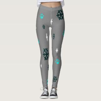 Snowflakes and Paw Prints Leggings