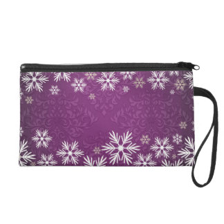 Snowflakes and Purple Damask Bridal Party Wristlet