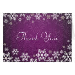 Snowflakes and Purple Damask Thank You Card