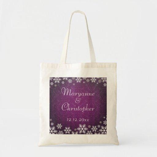 Snowflakes and Purple Damask Wedding Bag