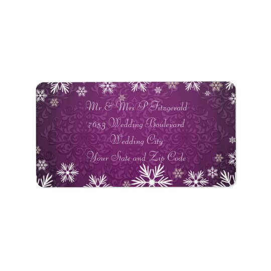 Snowflakes and Purple Damask Wedding Label