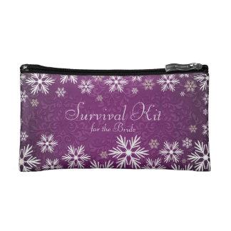Snowflakes and Purple Damask Wedding Survival Kit Makeup Bag