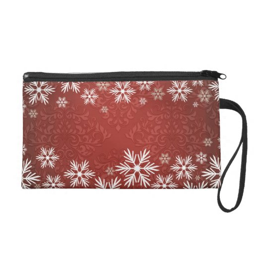 Snowflakes and Red Damask Bridal Party Wristlet