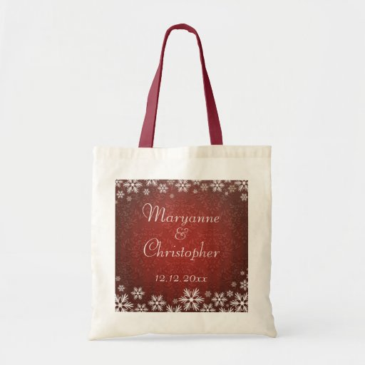 Snowflakes and Red Damask Wedding Bags