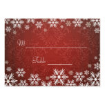 Snowflakes and Red Damask Wedding Place Setting Business Cards
