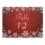 Snowflakes and Red Damask Wedding Post Card