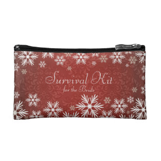 Snowflakes and Red Damask Wedding Survival Kit Makeup Bags