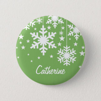 Snowflakes and Stars Button, Green 6 Cm Round Badge