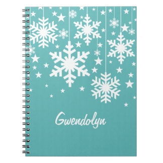 Snowflakes and Stars Notebook, Aqua Spiral Notebook
