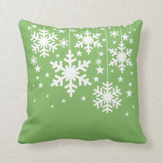 Snowflakes and Stars Pillow, Green Cushion