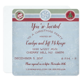 Snowflakes and Trees Christmas Party Card