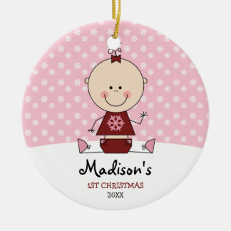 Snowflakes Baby Girl 1st Christmas Personalized Round Ceramic Decoration