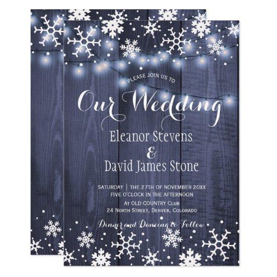 Snowflakes barn blue wood winter rustic wedding card