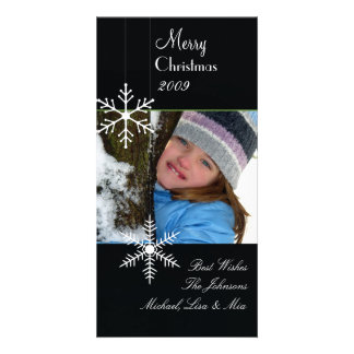 Snowflakes ~ black and white christmas, green trim customised photo card