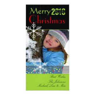 Snowflakes ~ black and white christmas, green trim customized photo card