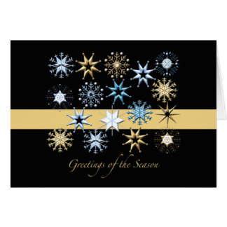 Snowflakes (Black) Folded - Holiday Card
