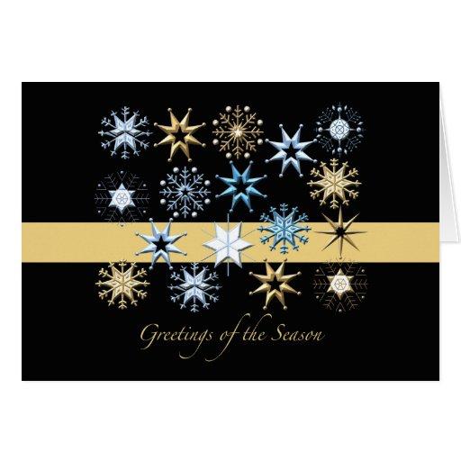 Snowflakes (Black) Folded - Holiday Card