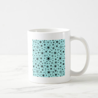 Snowflakes – Black on Pale Blue Mugs