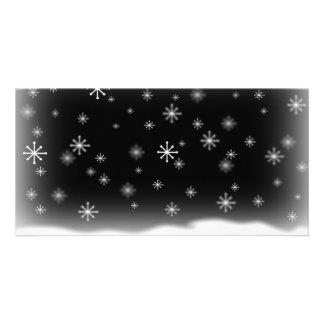 SNOWFLAKES BLACK PHOTO CARDS