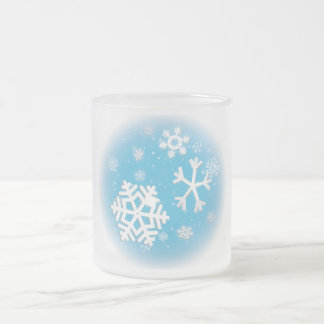 Snowflakes Blue  Frosted Mug