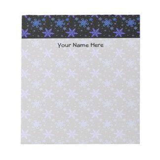 Snowflakes Blue Purple on Black Notepad