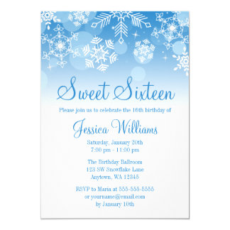 Snowflakes Blue White Winter Wonderland Sweet 16 13 Cm X 18 Cm Invitation Card