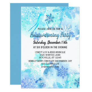 Snowflakes Blue Winter Housewarming Party Card